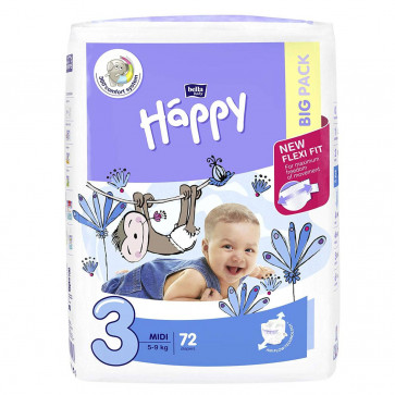 Happy Midi (5 - 9 kg) T3 - 72 couches BB-054-MU72-004 par HAPPY